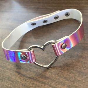 Jewelry - NEW • Holographic Pink Heart ring punk choker.
